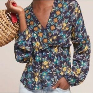 Anthropologie Meadow Rue Floral Embroidered Top M